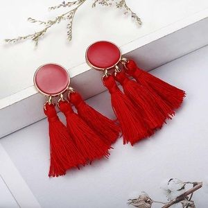 Bohemian Tassel Earrings. Red